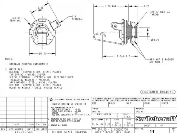Pre-Wired Switchcraft Standard Jack Socket Switchcraft Jack